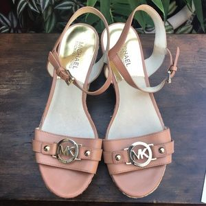 Michael Kors tan leather wedge sandals Size 7 1/2